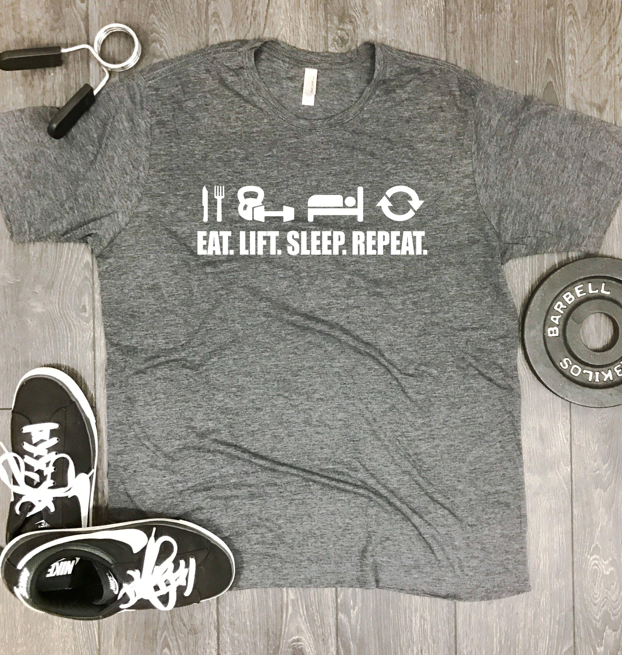 73659eb7406 eat lift sleep repeat mens gym shirt