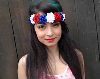 Red White Blue Flower Headband - Rose Headband - Leather Headband - 4th of July - Patriotic Headband - Festival - Rave