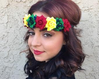 Rasta Rose Flower Headband On Black Twine - Festival Rave Headband - Hippie  Headband - Rastafarian - Reggae - Hair Accessories 1da42c06dd9