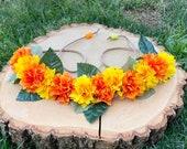 Marigold Day Of the Dead Día de los Muertos Headband Crown Halo Headpiece - Orange Yellow Marigold Headband Flower Crown
