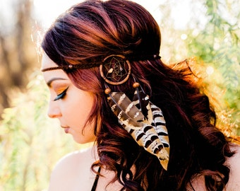 Dreamcatcher Feather Headband - Brown Dreamcatcher - Natural Feathers -  Festival Rave Fashion Wear - Boho Costume Accessories 54091f6cb7c