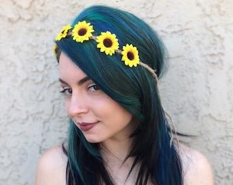 Adjustable Sunflower Headband - Sunflowers - Hippie Headband - Festival Headband - Hair Accessories