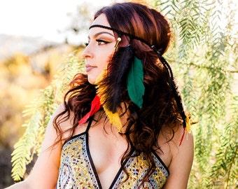 Rasta Feather Headband - Hippie Headband - Rastafarian - Reggae Festival Headband - Boho - Bohemian -  One Love