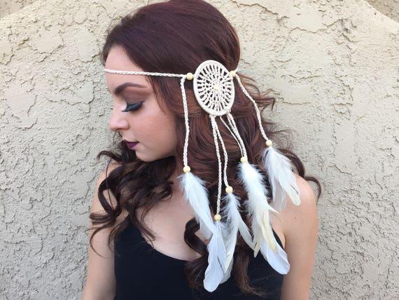 Crochet Cream Off White Mandala Dreamcatcher Feather Headband  c0bad78a5ff
