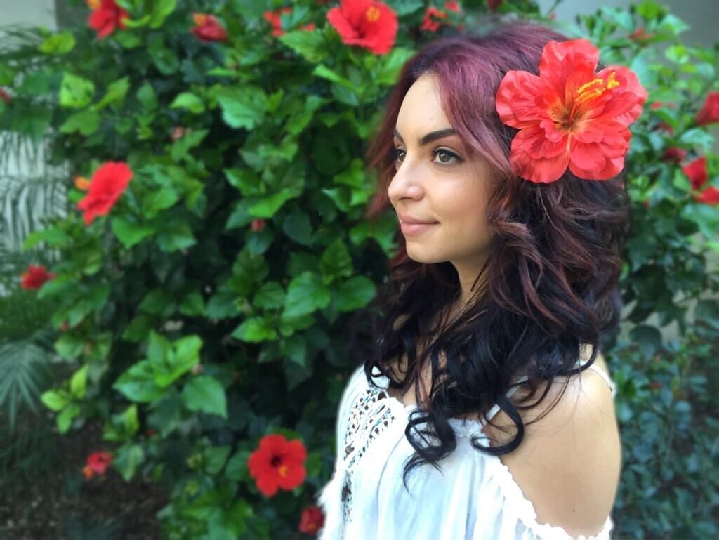 Flower hair clip orange red hawaiian hibiscus hair etsy zoom izmirmasajfo