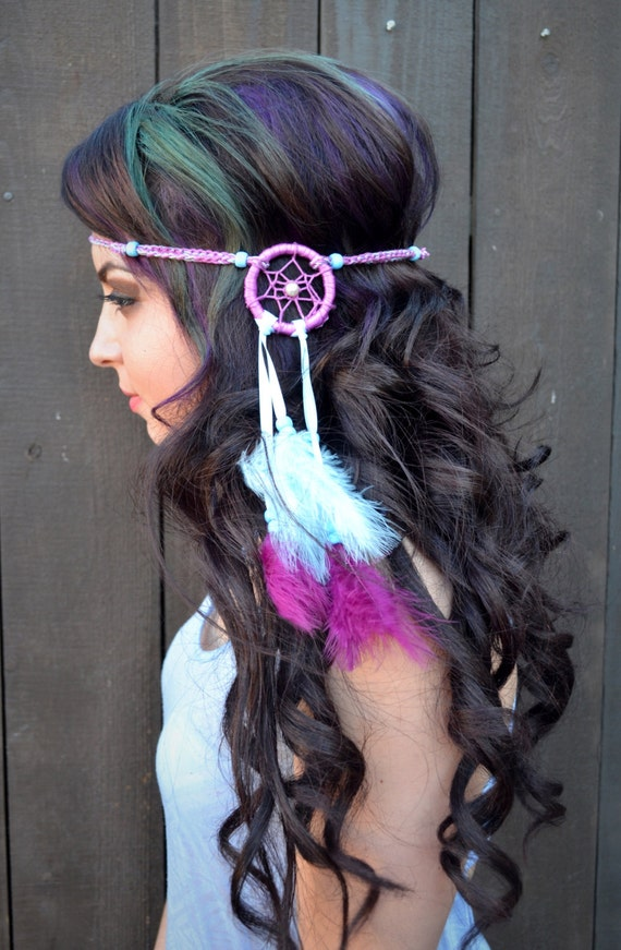 Pink Red Purple Blue Feather Clip On Headpiece Bohemian Festival Hippy Indian