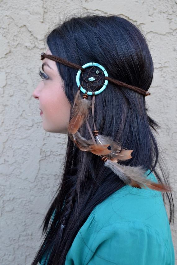 Dreamcatcher Feather Headband Teal Turquoise Dreamcatcher  bc432ecc79e