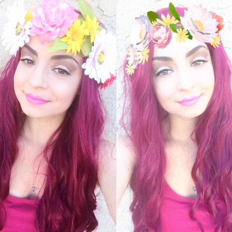 Snapchat Filter Flower Crown Flower Headband Flower Hair  5b7950356de9