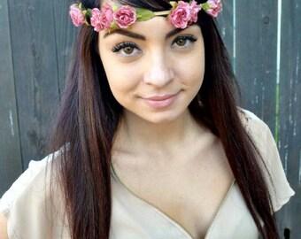 Adjustable Leather Flower Headband - Floral Headband - Vintage Roses -  Festival Headband - Hair Accessories
