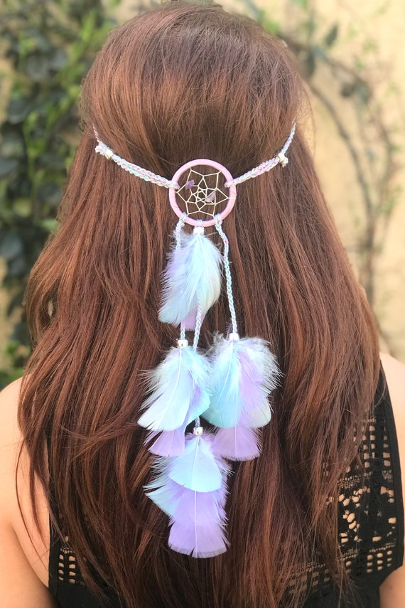 Dreamcatcher Feather Headband Lavender Aqua Feather Dream  7a06a00966f