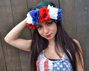 Flower Leather Headband - Adjustable Floral Headband - Patriotic Headband - 4th of July - Red White Blue Roses