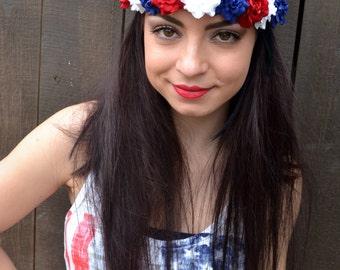 Red White Blue Flower Headband - Rose Headband - 4th of July - Patriotic Headband - Festival - Rave - Hair Accessories