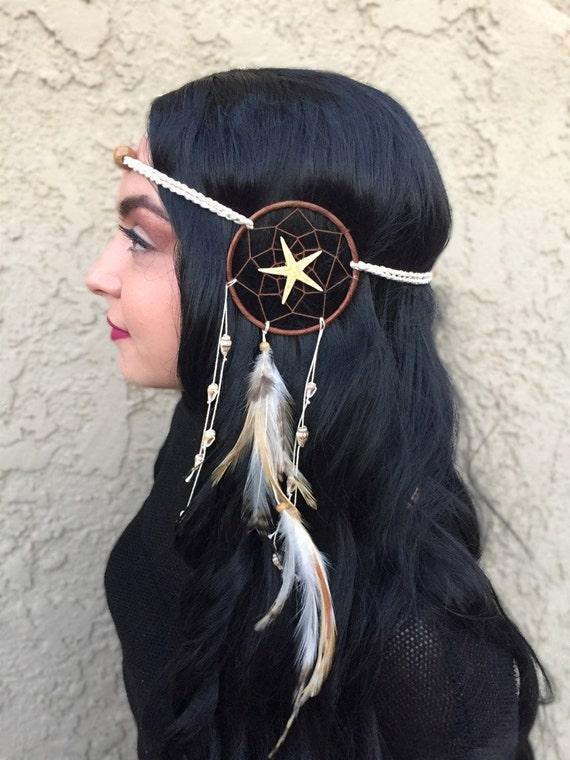 Unique Feather Dreamcatcher Headband Shells Starfish Dream  4d340b75390