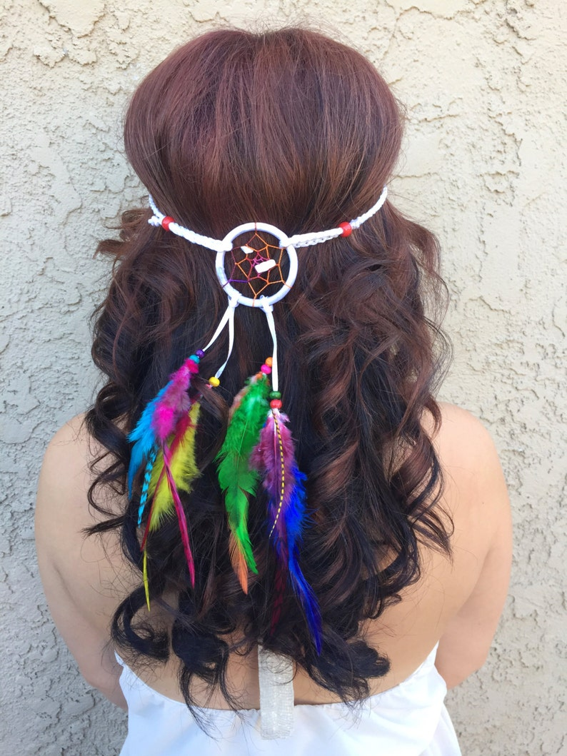 Colorful Rainbow Dreamcatcher Feather Headband - White Dream Catcher -  Hippie Festival Rave Headband - Boho Look