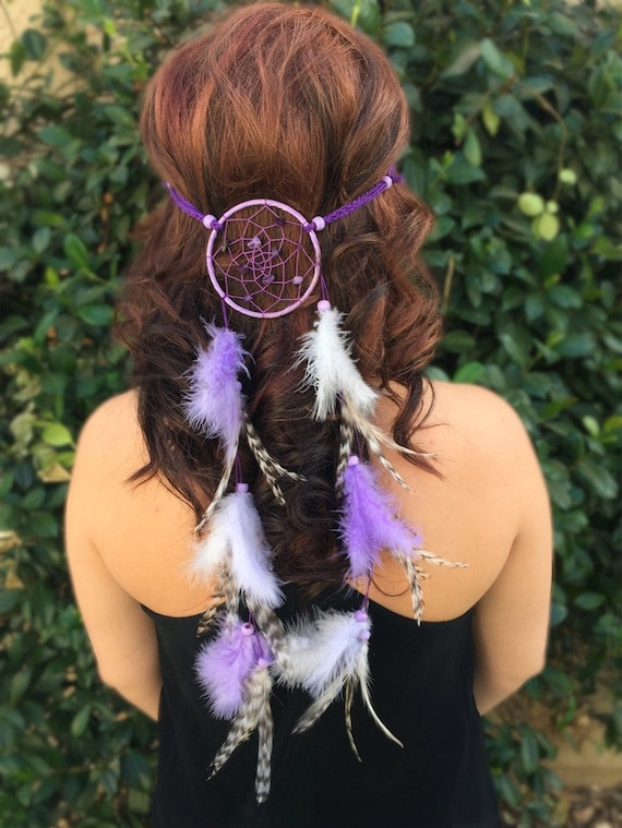 Lavender Dreamcatcher Feather Headband Purple Grey Natural  ecacfb393fd