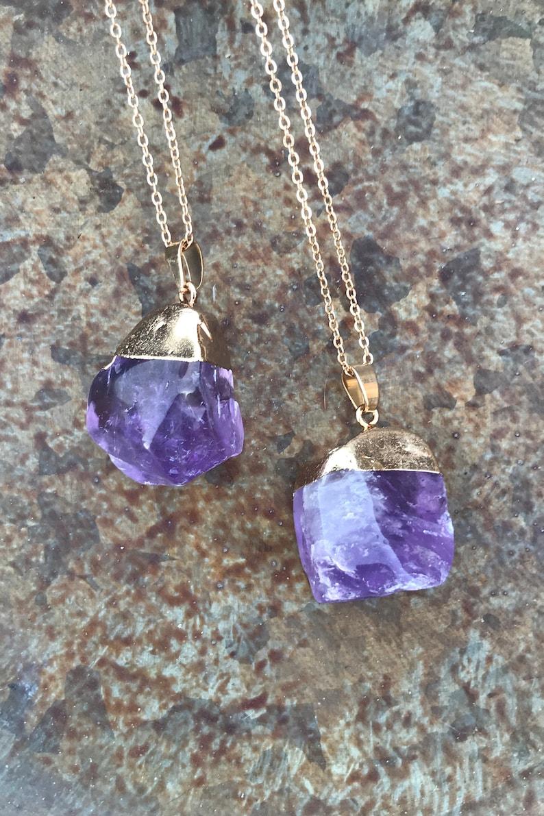 Amethyst Gemstone Pendant Boho Crystal Jewelry Gold Dipped Purple Crystal Quartz Necklace Healing Crystals