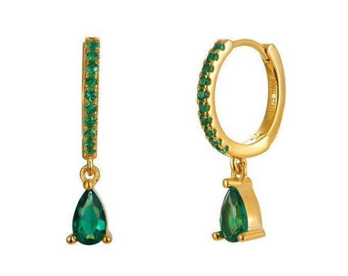 Sterling Mini Silver Hoops, Onix Verde Mini Hoops, Silver Creoles, Mini Green Hoops, Mineral Creoles, Women's Earrings