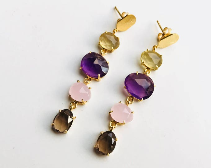 Silver Earrings, Citrine, Amethyst, Quartz and Labradorite N7