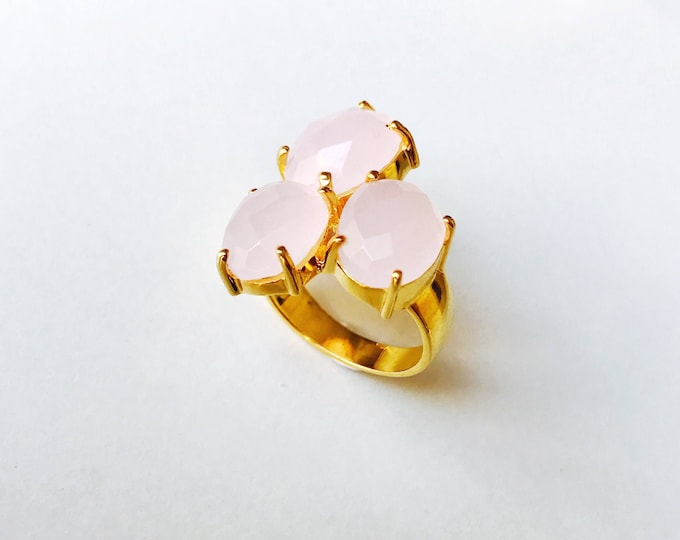 Sterling silver ring, . . . . . . . . . . . . . . . . . . . . . . TRÉBOL Mineral Ring, Mineral Ring, Pink Quartz Ring, Green Chalcedony Ring, Amatist Ring