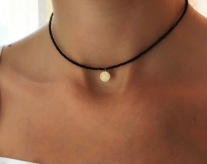 Mini mineral choker and sterling silver,Choker mini minerals with silver charm and zirconia,minimalist women's necklace,