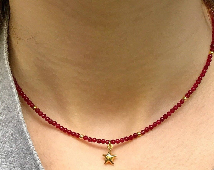 Agate and Silver Star Choker, Sterling Silver Choker, Mini N4 Gems Choker, Mini and Star Necklace