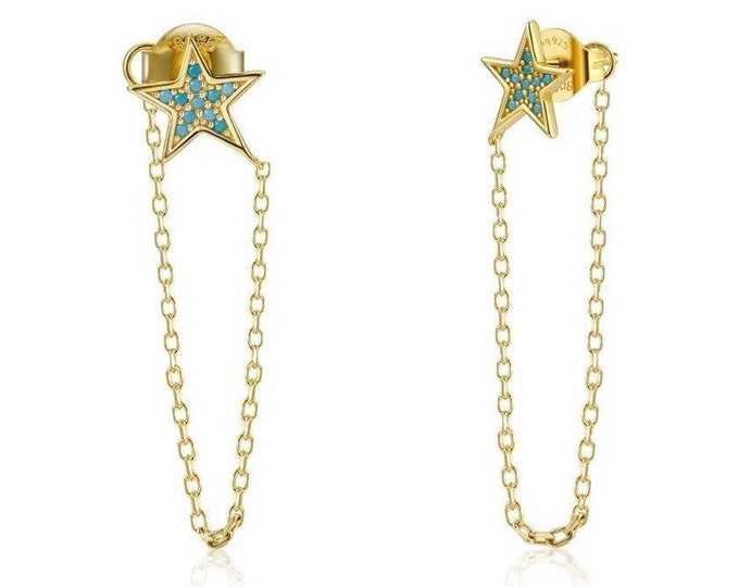 Sterling Silver Earring with Turquoise Zirconia Star, Turquoise Star and Gold Chain Earring, Long Earring,