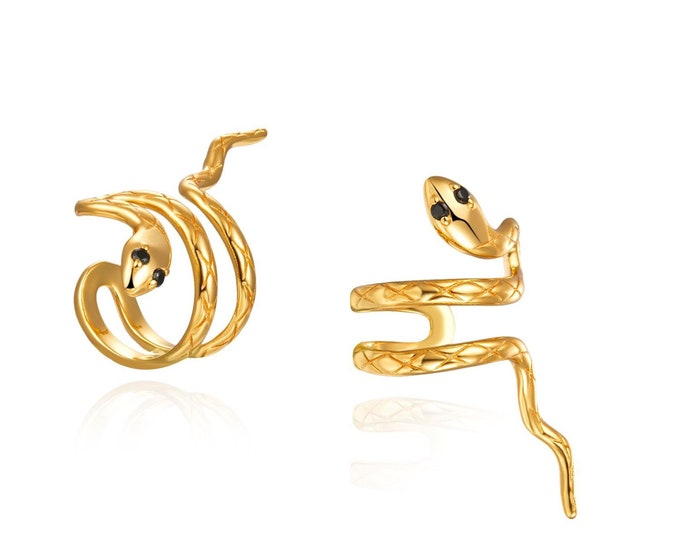 Earcuff Snake with Zirconia, Earcuff Snake Without Hole, Golden Earcuff Snake for Cartilage, Earcuff Sterling Silver, Earrings