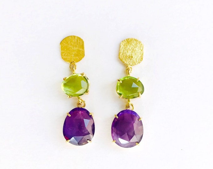Silver Earrings, Amethyst and Peridots N9