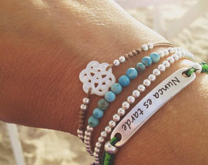 Silver bracelet and semi-precious minerals