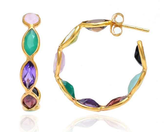Pendientes de aros y piedras multicolor, Pendientes de piedras naturales, Aros multicolor oro, pendientes de plata y piedras mujer, Criollas