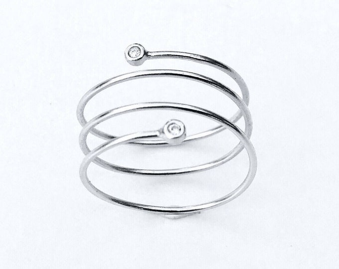Sterling Silver Ring and Zirconianites, . MUELLE ring, spiral ring, Sterling Silver Ring and Zircons,. | MUELLE Ring., Spiral
