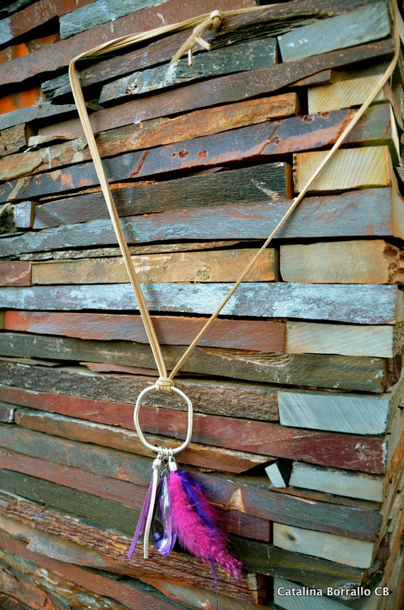 Suede with ring pendant necklace, large Teardrop glass and feathers
