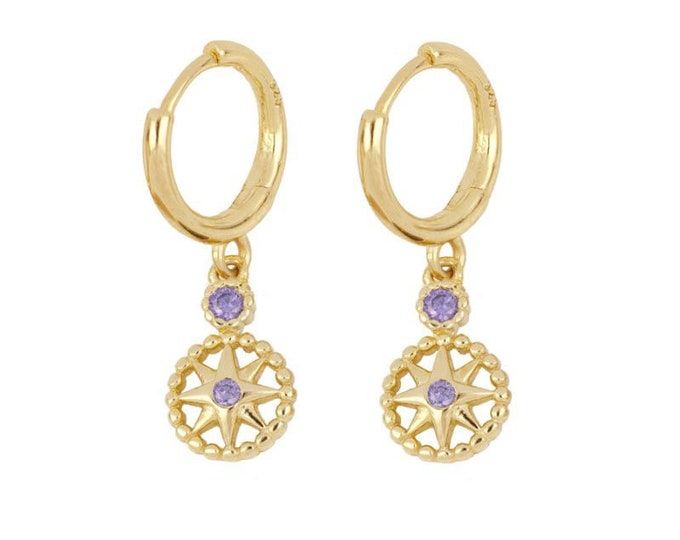 Hoop Earrings with Pendants, Mini Rings with Pendants, Silver Hoops with Charm, Small Gold Women's Hoops, Purple Zirconia Gold Creole