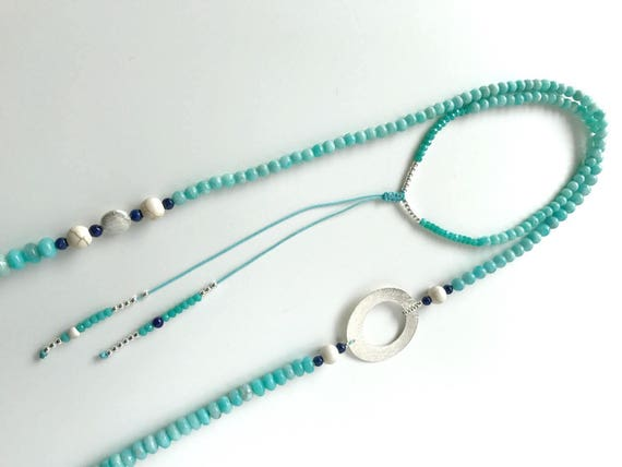 Large turquoise necklace and silver hoop