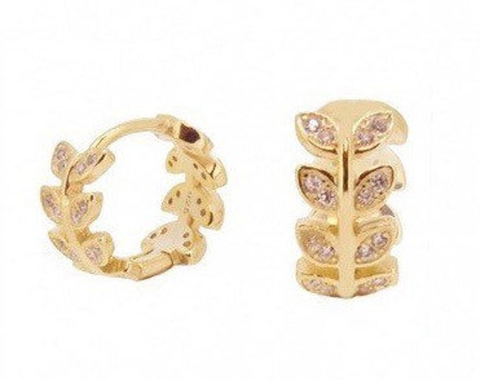 Hoop earring with golden Laurel leaves and zirconia, sterling silver Creole with zirconia and, Zirconia rings