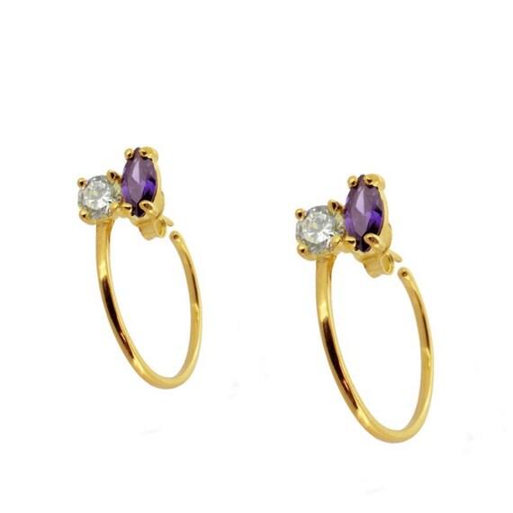 Hoops Paris, aros stones, criollas stones, aro with white and purple zirconia
