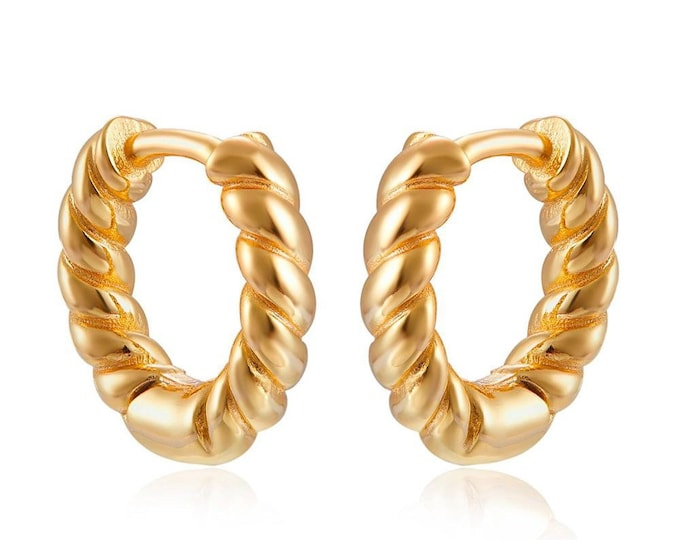 Gold Braided Hoop, Sterling Silver Braided Hoop, Gold Twisted Hoops, Modern Thick Hoops, Perfect Gift for Women, Fashion Hoops