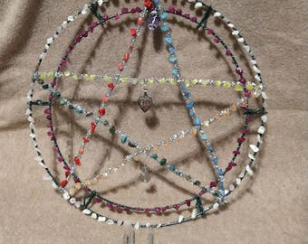 Chakra-Pentagram Wind Chime with Amethyst stone