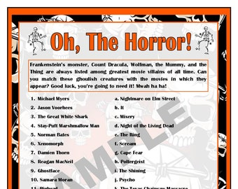 horror movie villains printable matching game halloween games halloween party horror movies halloween activity instant download