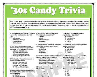 image regarding 1950 Trivia Questions and Answers Printable identify 1950s Sweet Trivia Printable Recreation 1950s Trivia Sweet Etsy