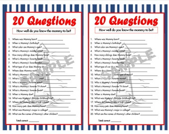 20 Questions Printable Birthday Game How Well Do You Know Etsy