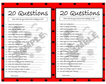 20 questions ladybug printable party game ladybug baby shower ladybug printable games who knows daddy best instant download