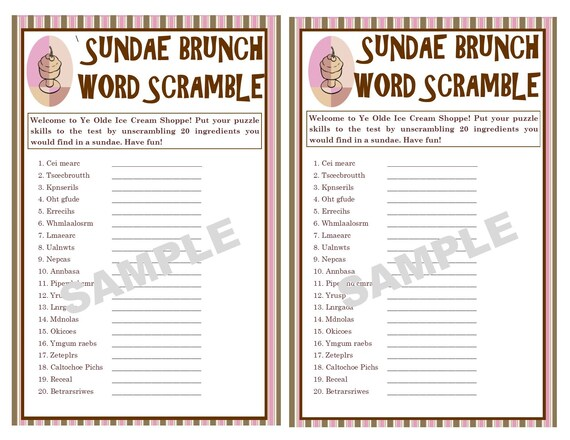 image regarding Printable Word Scrambles titled Ice Product Sundae Printable Phrase Scramble Activity - Meals Video games - Online games for Small children - Clroom Functions - Ice Product - Prompt Obtain