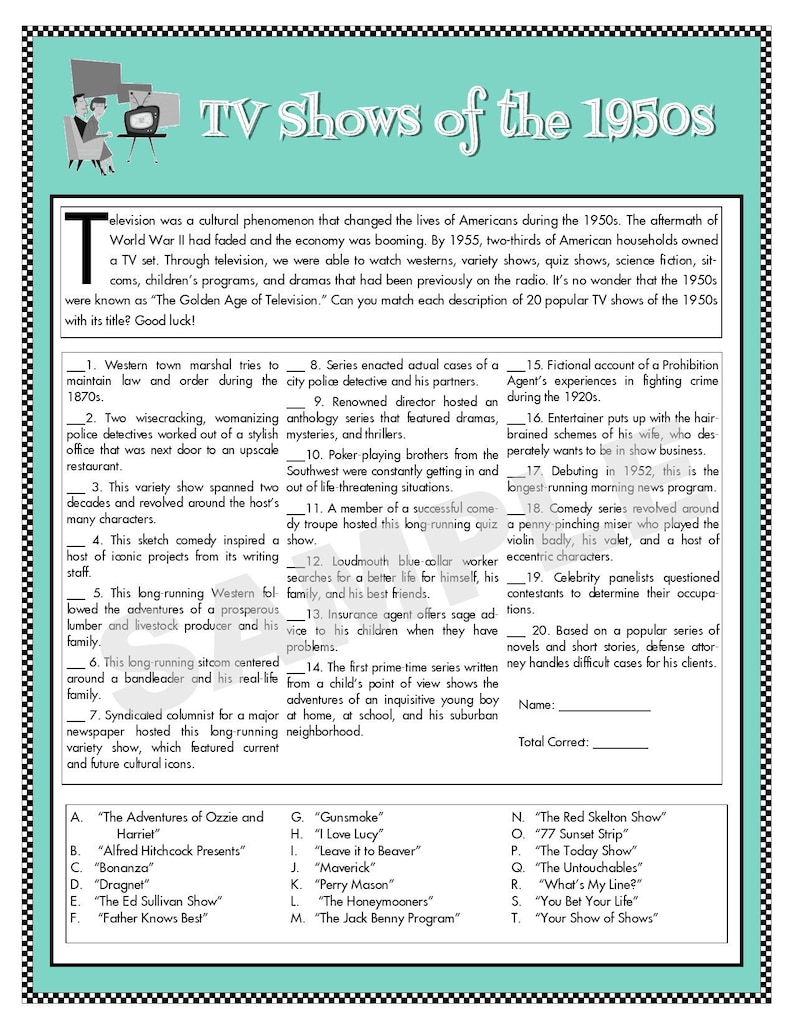 TV Shows of the 1950s Printable Matching Game - TV Trivia - 1950s Trivia -  1950s Party - Matching Games - Instant Download