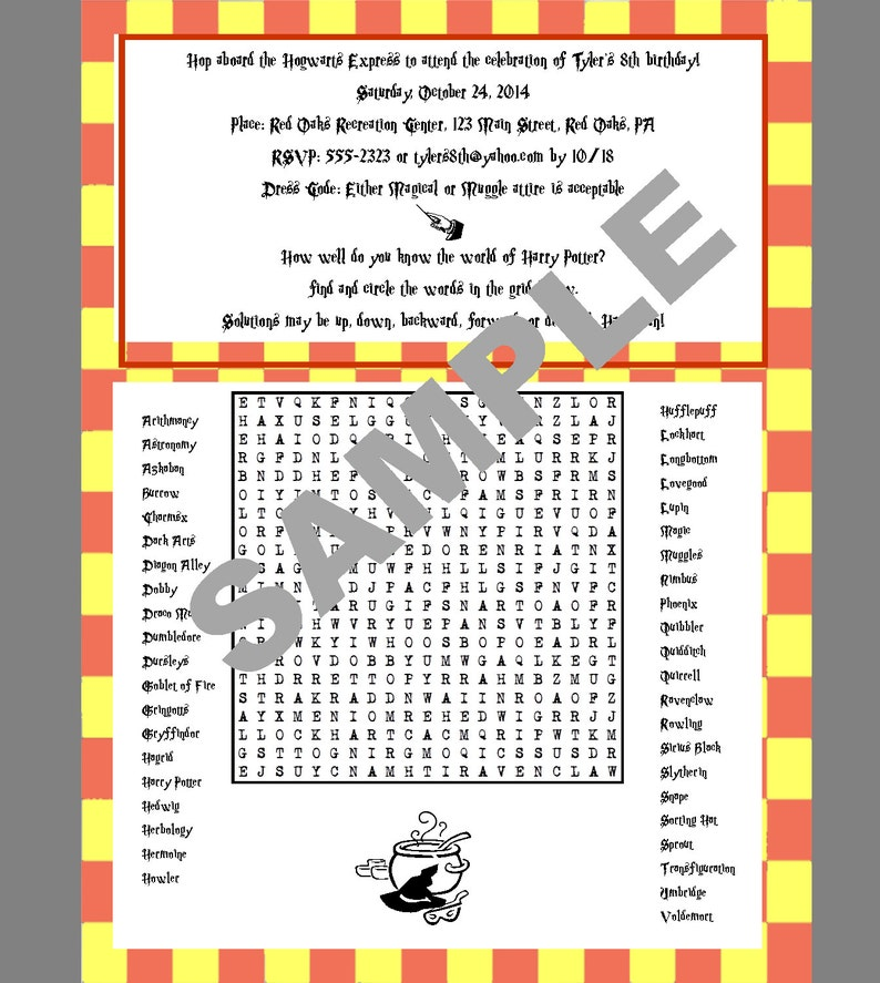 Book Lover's Printable Word Search - Personalize with Your Favorite Books  or Authors - Word Search - Party Favor - CUSTOM DIGITAL FILE