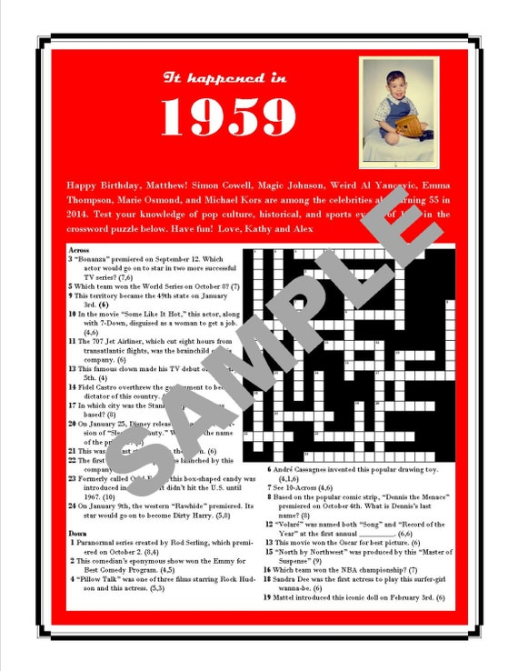 The Year You Were Born Printable Trivia Crossword
