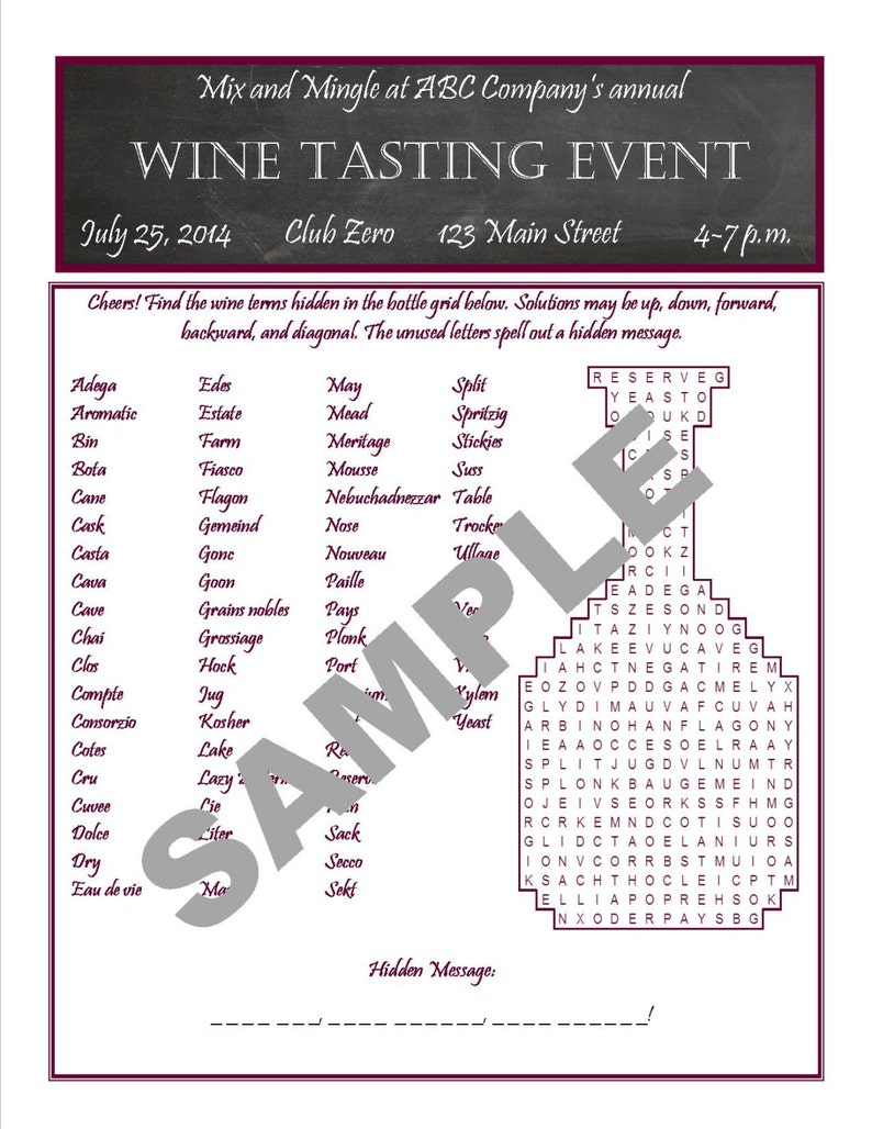 and More CUSTOM DIGITAL FILE Wine Terms Printable Word Search--Personalize for Birthdays Girls/' Night Out Wine Tastings
