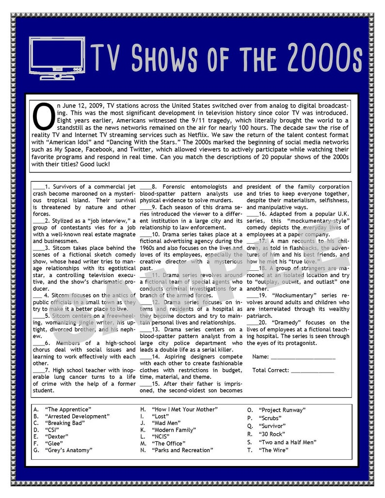 TV Shows of the 2000s Printable Matching Game - TV Trivia - Millennial  Party - Millennial Trivia - Matching Games - Instant Download