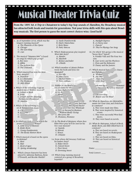 photograph relating to Printable Trivia Games titled Musical Theater Printable Trivia Recreation - Broadway Trivia - Theater Online games - Goody-Bag Favors - Desk Favors - Prompt Obtain