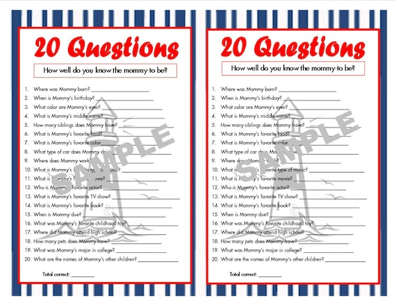 20 Questions Nautical Printable Party Game Nautical Baby Etsy
